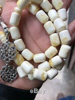 Yellow White Baltic Amber Tasbih, 100% Natural Made From One Stone #SPU32